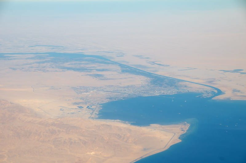 The suez canal aerial view