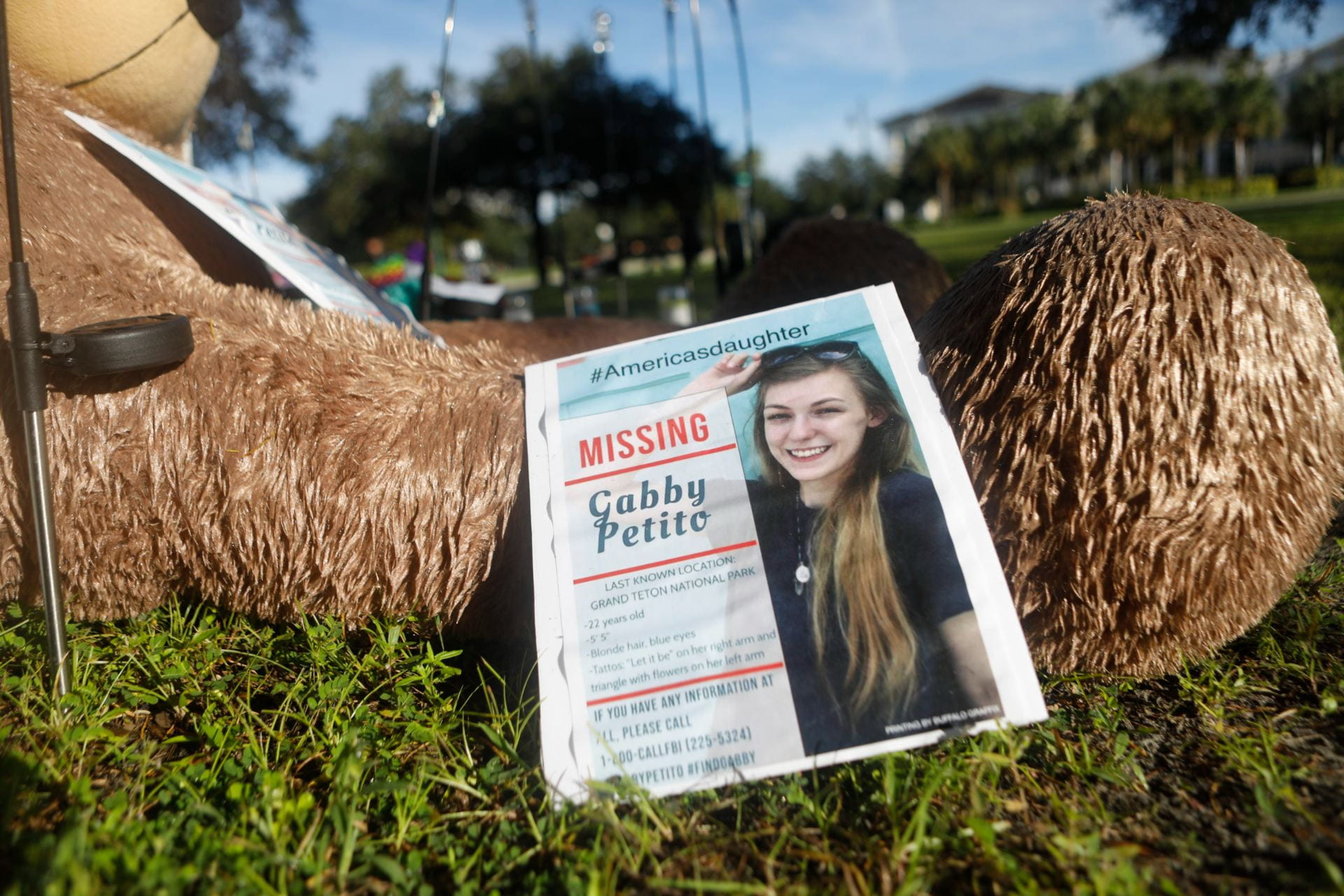 Missing flyer of Gabby Petito depicting a picture of Gabby with the hashtag of America's daughter