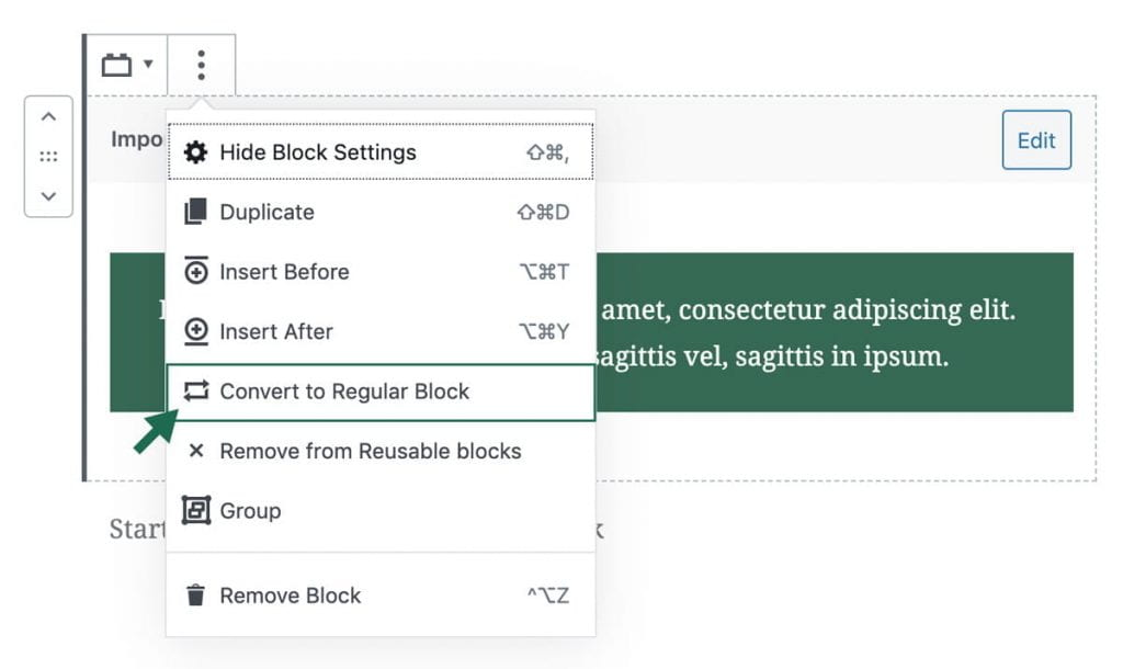 screenshot of how to convert reusable block to a regular block