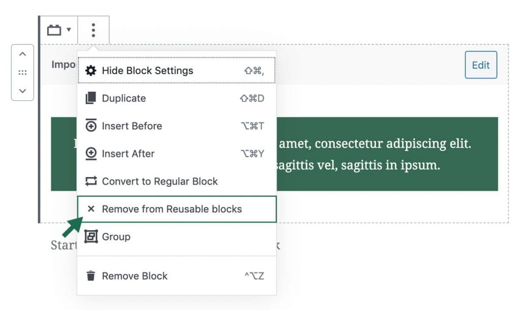screenshot of how to remove reusable block from all pages