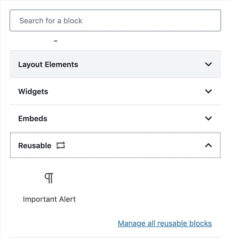 screenshot of the reusable blocks section of blocks menu