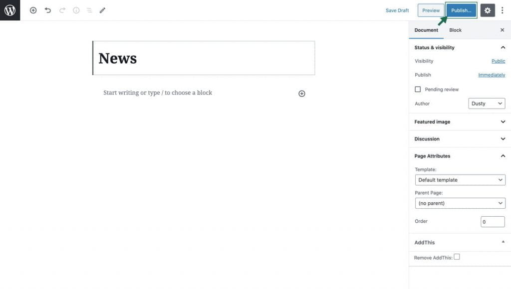 screenshot of a blank page with title and an outline around Publish button