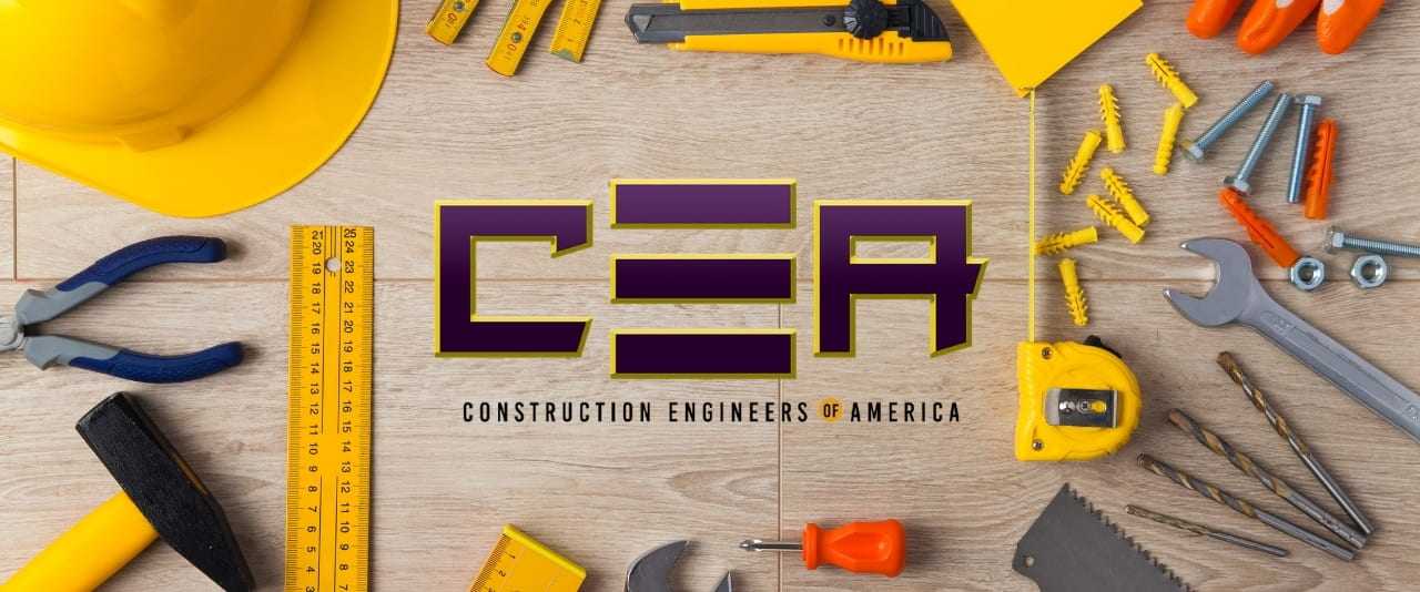 Construction Engineers of America logo on wood background surrounded by construction tools
