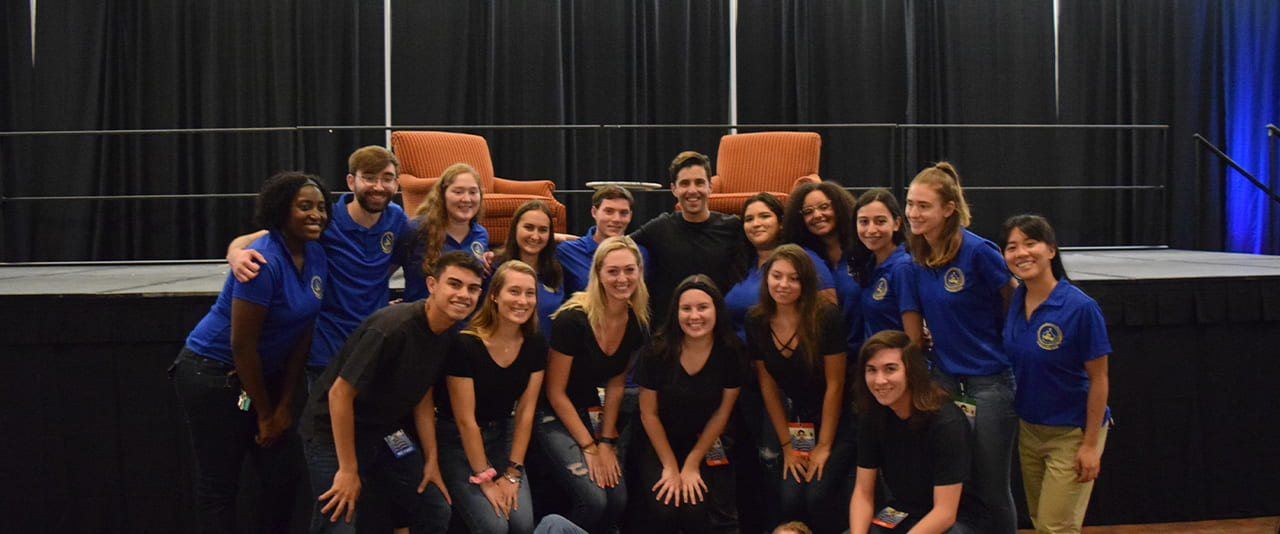 The Crew with all its members surrounding Josh Peck