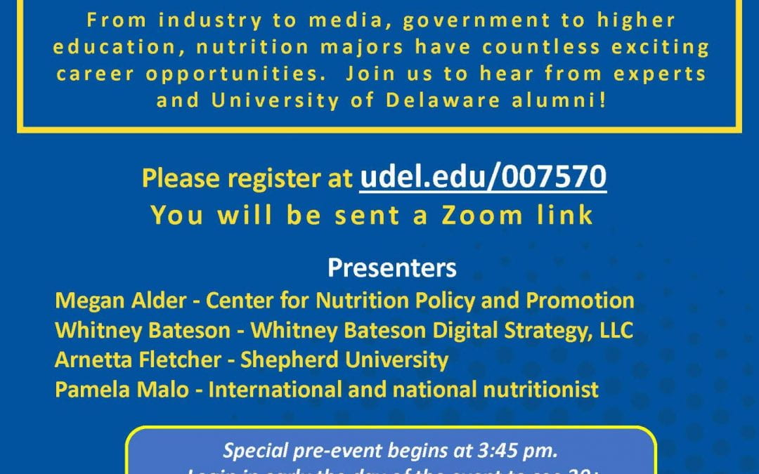 Nontraditional Careers in Nutrition – Seminar!