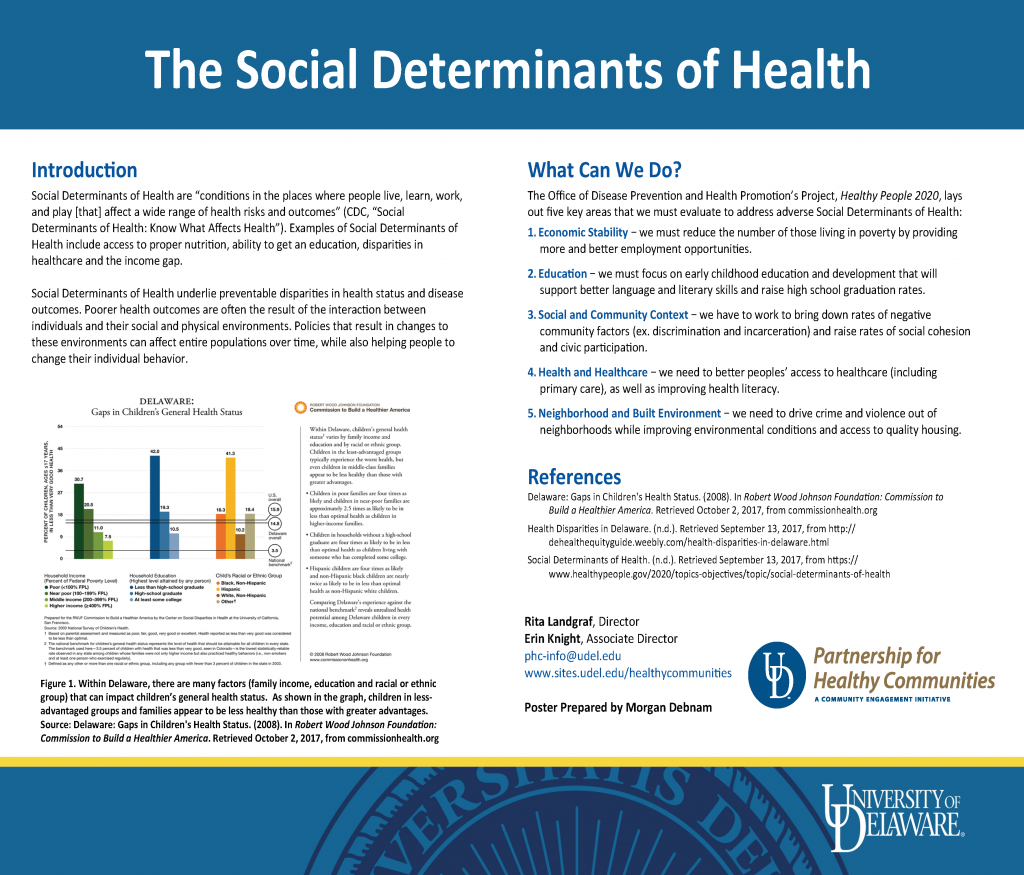 Poster presentation displaying the The Social Determinants of Health