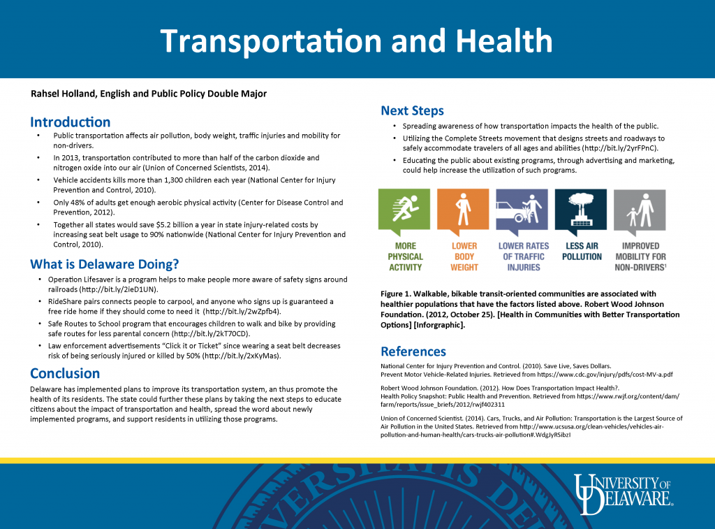 Poster displaying issues of transportation and health