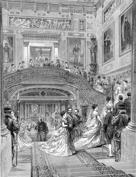 The Buckingham Palace Grand Staircase as represented in an illustration from The Graphic in 1870. (Courtesy of Wikimedia Commons)