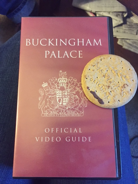 The perfect British tableau: My Buckingham Palace, a McVities Digestive Biscuit, and Me.