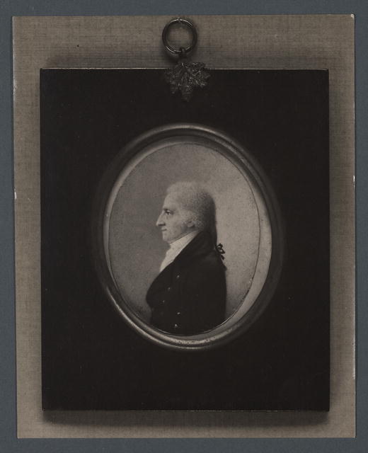 20th century photograph of a miniature of Thomas Cahusac, Jr, dated 1800 (courtesy of the Library of Congress)