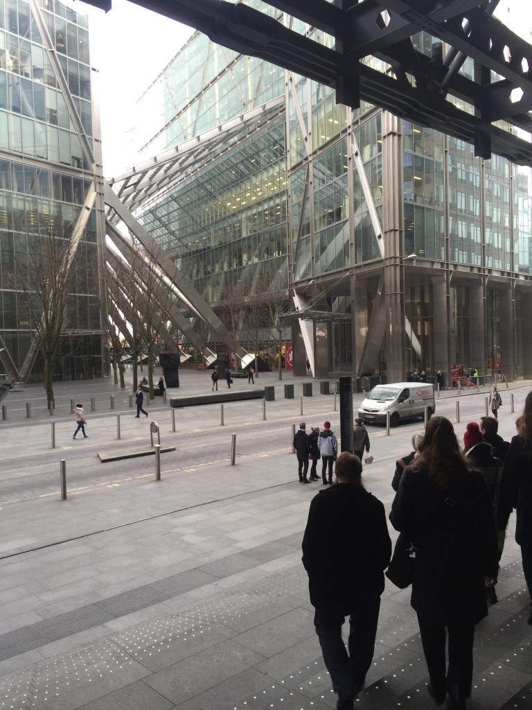 The futuristic center of London's financial district, Bishopsgate stands in stark contrast with many of London's older buildings.
