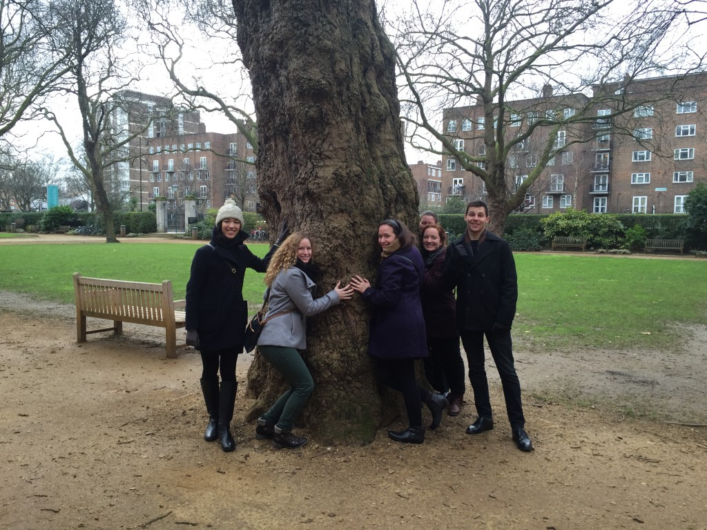 Several fellows gather in front of one of the Geffrye's London plane trees!