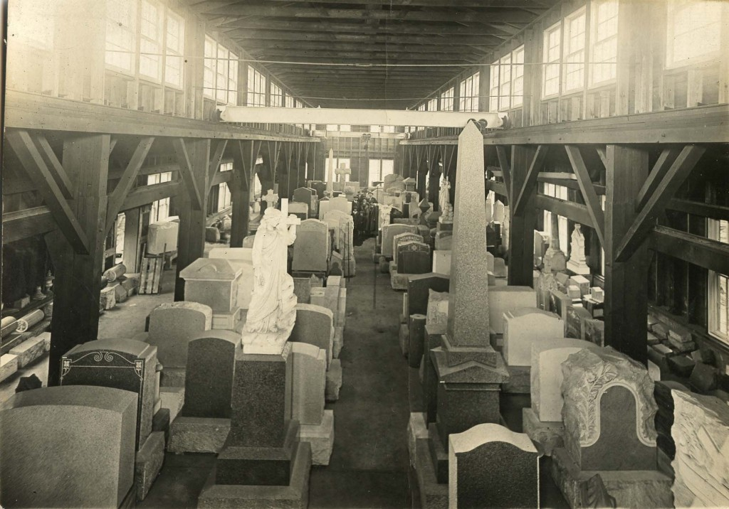Interior of Foley Bros. Co. Mausoleum and Monument Works. United states; 1940 Photograph The Joseph Downs Collection of Manuscripts and Printed Ephemera