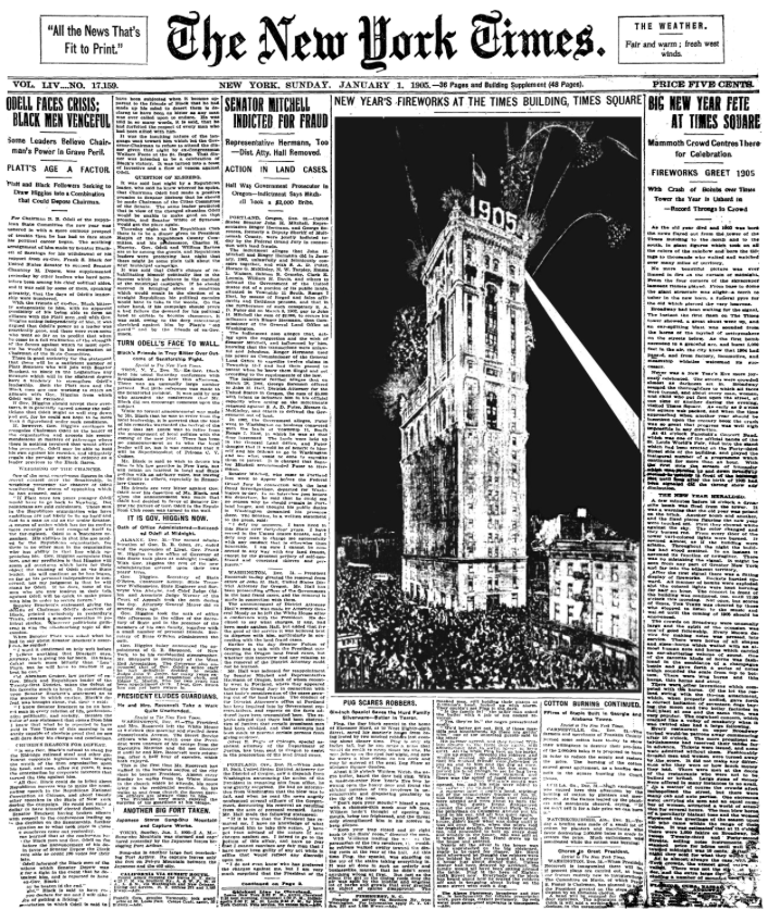 Front page of The New York Times depicting One Times Square in 1905. Photo courtesy of Times Square Alliance