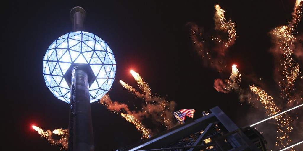 The current Times Square Ball on New Year's Eve 2012. photo courtesy of NYCNewYearsEve.com
