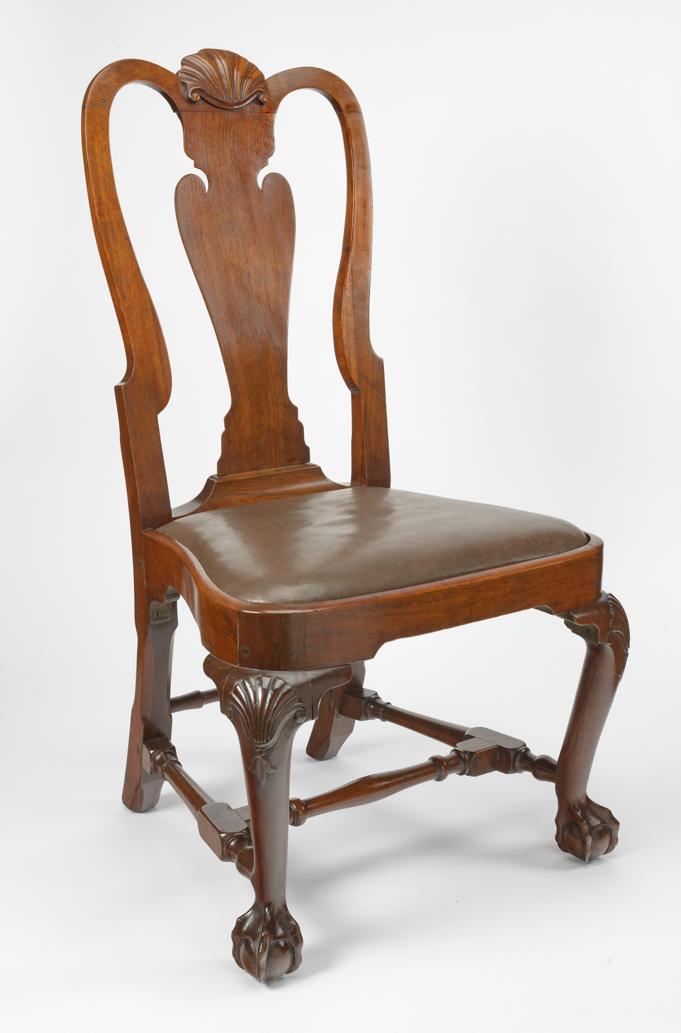 Image: Object No. 1960.0719.002. Walnut Side Chair With Compass Seat With  Brown Leather Slipseat, Cabriole Front Legs, And Ball And Claw Feet, ...