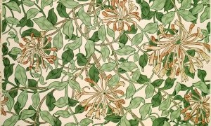 An image of the Honeysuckle wallpaper designed by May Morris in about 1883. The design features pink honeysuckle blossoms with tendril-like petals blooming amid a complex system of overlapping light and dark green vines and leaves. Beneath the vines and leaves is a soft, peach-toned background.