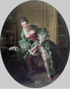 Painting of a Georgian woman peeing into a bourdaloue