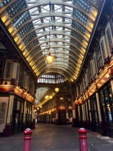 Leadenhall Market. Several closed-in arcades meet in the center.