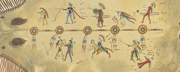 Image shows six or seven scenes of battle in which the owner defeated his enemy even in the face of great pain, such as the lower left image where Mató-Tópe's hand has been cut and yet he continues to fight.