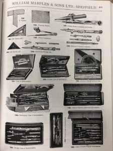 Image of price list sheet contains drawings of products from William Marples & Ltd., in Sheffield, England. Page features (from Left to Right, Top to Bottom): a T-square, drawing board, individual brass pocket compass, 60 degree set square, individual brass compass, set of 4 brass compasses, 45 degree set square, divider set, 9 instrument cases. None of which resemble my steel triangle square.