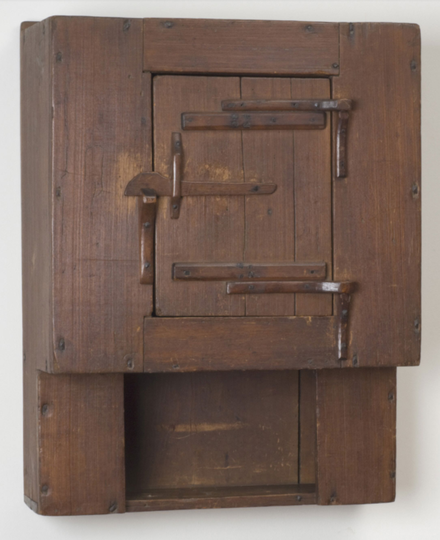 A wooden hanging cupboard from the Ephrata Cloister