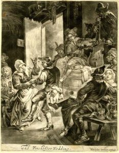 3.This mezzotint presents an interior scene of a wedding celebrating. People are dancing while two fiddlers play seated on large barrels. A man with is back turned is seated on a form in the bottom right.