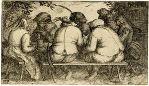 4.In this etching, a group of Dutch peasants are seated on benches around a trestle table. They are engaged in an animated discussion.