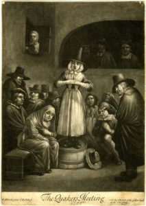 5.This mezzotint features a woman wearing a tall hat, who is standing on a half barrel with her hands clasped. She is surrounded by other Quakers, some of which are seated on a bench.