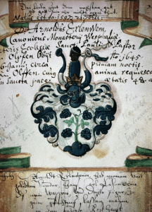 a picture of a drawing from inside Liber amicorum of Joannes Carolus Erlenwin a friendship book bound in 1615 for joannes Carolus Erlenwein.