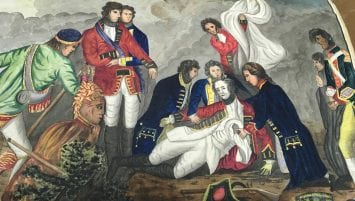 Battle scene showing the death of a general with figures surrounding him.
