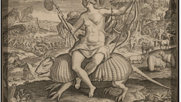 Ink engraving on paper showing a woman with a feathered headdress, nude above the waist, sitting on an oversized armadillo, carrying a bow and an axe. In the background are two armies battling one another and three cannibals cooking human limbs over a fire.