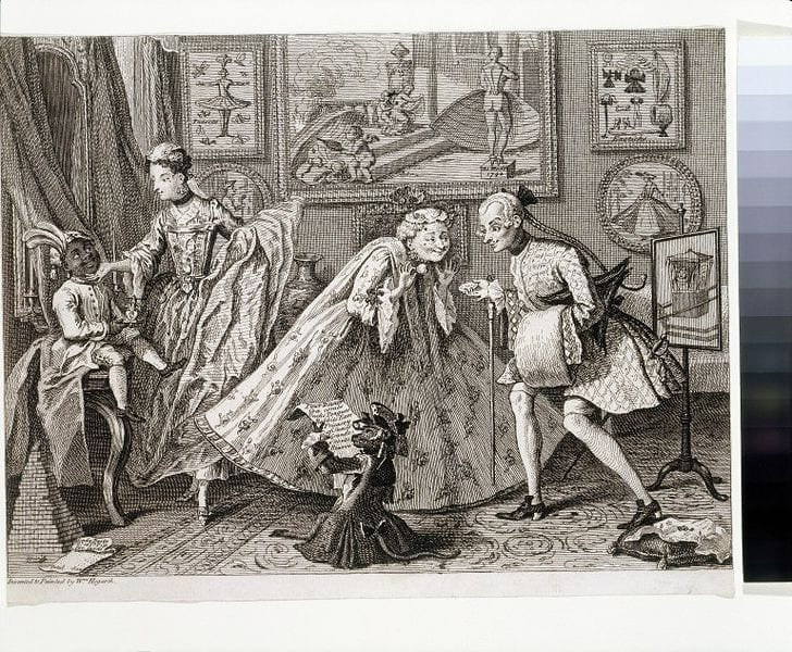 This print shows four figures in elaborate clothing in in a parlor surrounded by art on the walls, grand draperies, a mirror, large vase, and pole screen. In the foreground, a monkey examines a list, supposedly of the figures' purchases.
