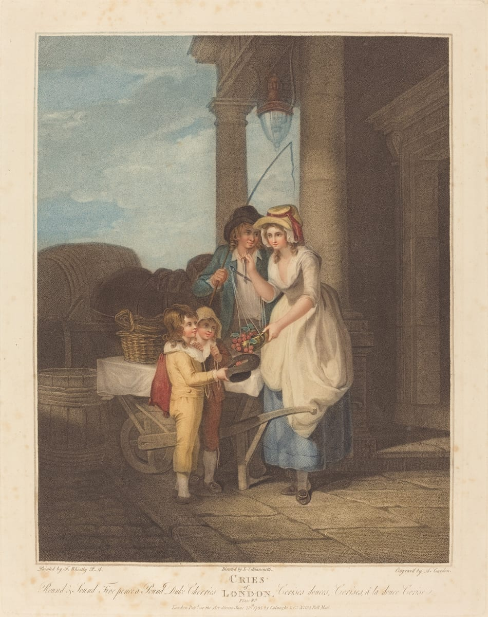 This print shows a woman with a scale overflowing with cherries, two young boys holding out a hat filled with cherries, and a man with a whip standing behind the woman's shoulder and gazing amorously at her face. They are on a cobblestone street beside a wooden cart, which is loaded with baskets, and in front of a stone building with a portico, grand lantern, and monumental entrance.