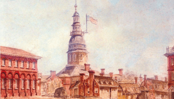 A watercolor painting of the city of Annapolis, Maryland. Most prominent is the Maryland State House, which towers over the residential and commercial buildings in the composition. A flag created by John Shaw is attached to the Capitol building.