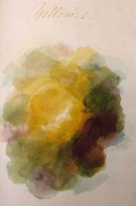 A swirling mass of yellow, brown, and green blobs that combine to show a range of values and tones in the yellow chromatic family.