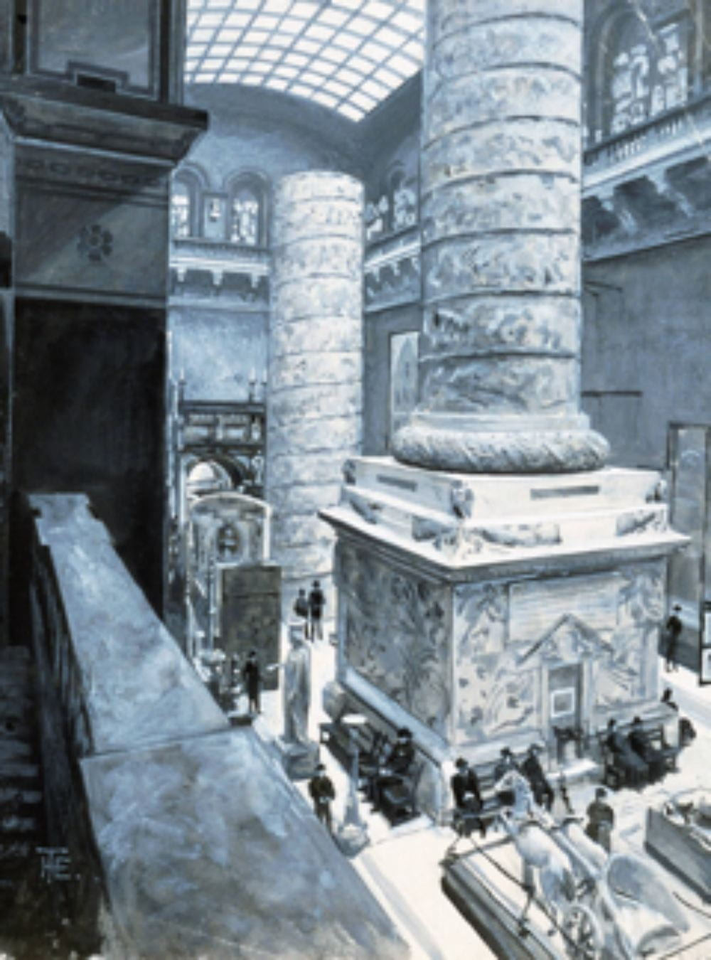 Alt Text: A black and white drawing looking down from a balcony into a museum gallery. Plaster casts of various classical and Renaissance sculpture clutter the floors surrounding a giant column in two pieces. People dressed in dark clothing sit on benches at the base of the column, some of them sketching.