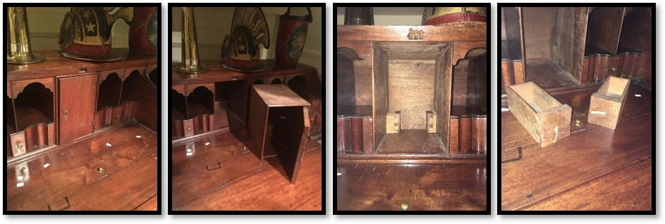 A series of four images in progression showing the interior of a desk, the central prospect of the desk being removed, and two small wooden drawers revealed behind the prospect.