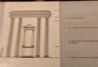 Alt Text: A black line drawing in relief of a classical entablature resting on four fluted pilasters. Between the two center pilasters is a pediment atop two columns. To the left of the drawing are black relief lines sectioning off the various sections of the classical façade, and there is both black text and Braille describes each section.