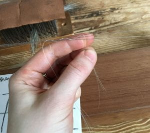 A hand supports three strands of hair woven in between three threads which are pulled taught horizontally across the frame.
