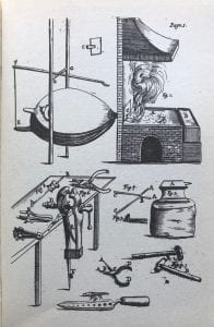 A black-and-white print of a hearth and bellows, and anvil, a work bench, and various tools of a blacksmith's trade strewn about.
