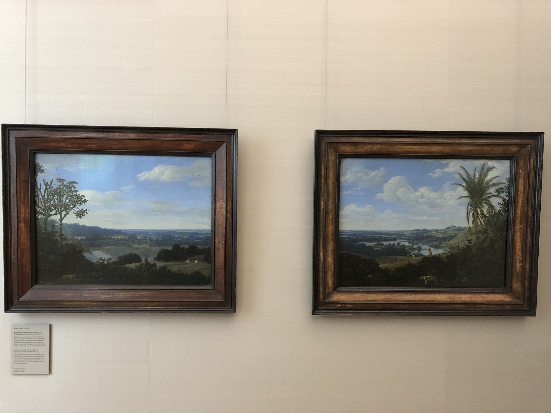 Two landscape paintings hang on a white wall. The landscapes are scenes of dark green jungles and golden pasture, with small figures interspersed.
