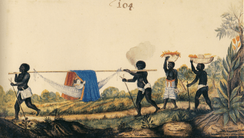 Two black servants carry a white woman in a hammock through a jungle. Two additional black servants carry baskets of fruit behind.