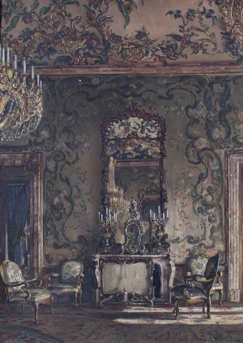 Opulently decorated room with three chairs, fireplace, mirror, and chandelier.