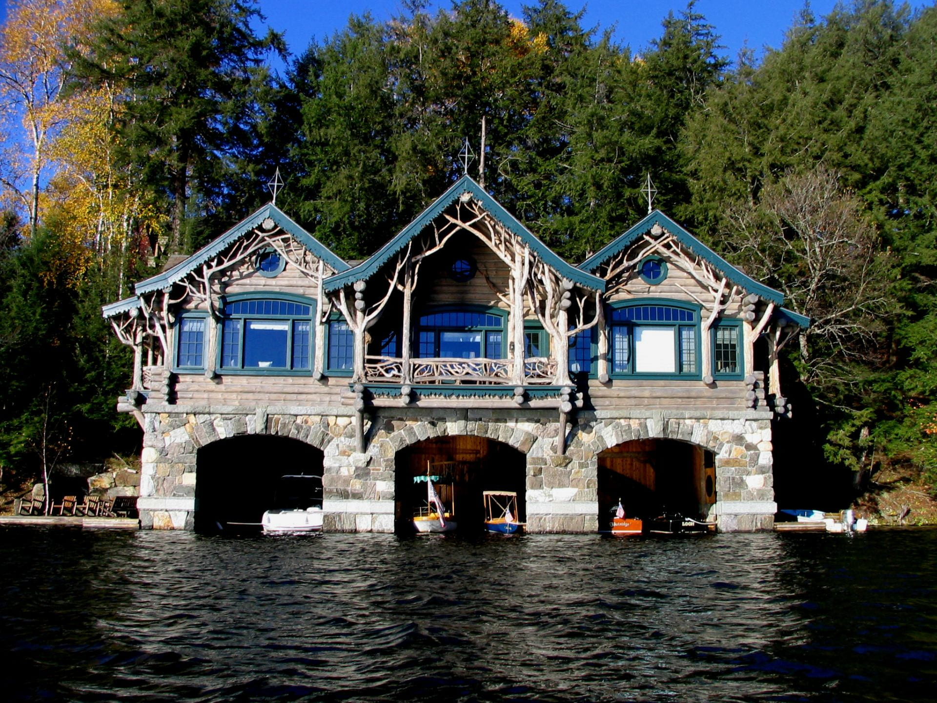Fig. 11. Two-story boathouse with Adirondack-style architecture.