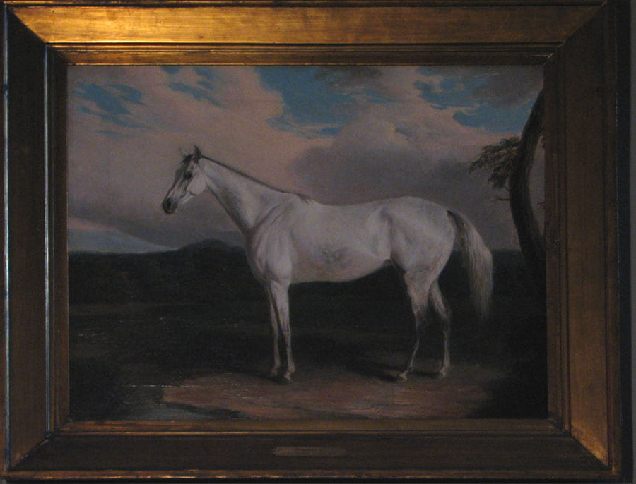 Figure 2. Painting of white horse facing left in outdoor environment with river, hill, and tree.