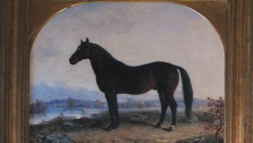 Figure 3. Painting of black horse facing left with river and mountain range in background.