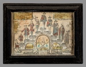 Paper with an image of a brick stepped pyramid containing 9 individual platforms each with a male figure. Each step is an allegory for a stage of life, the male figure on each step becomes progressively older moving from left to right. The pyramid starts on the left with a lush tree and a baby, on the right is an old man greeted by an angel in his coffin.