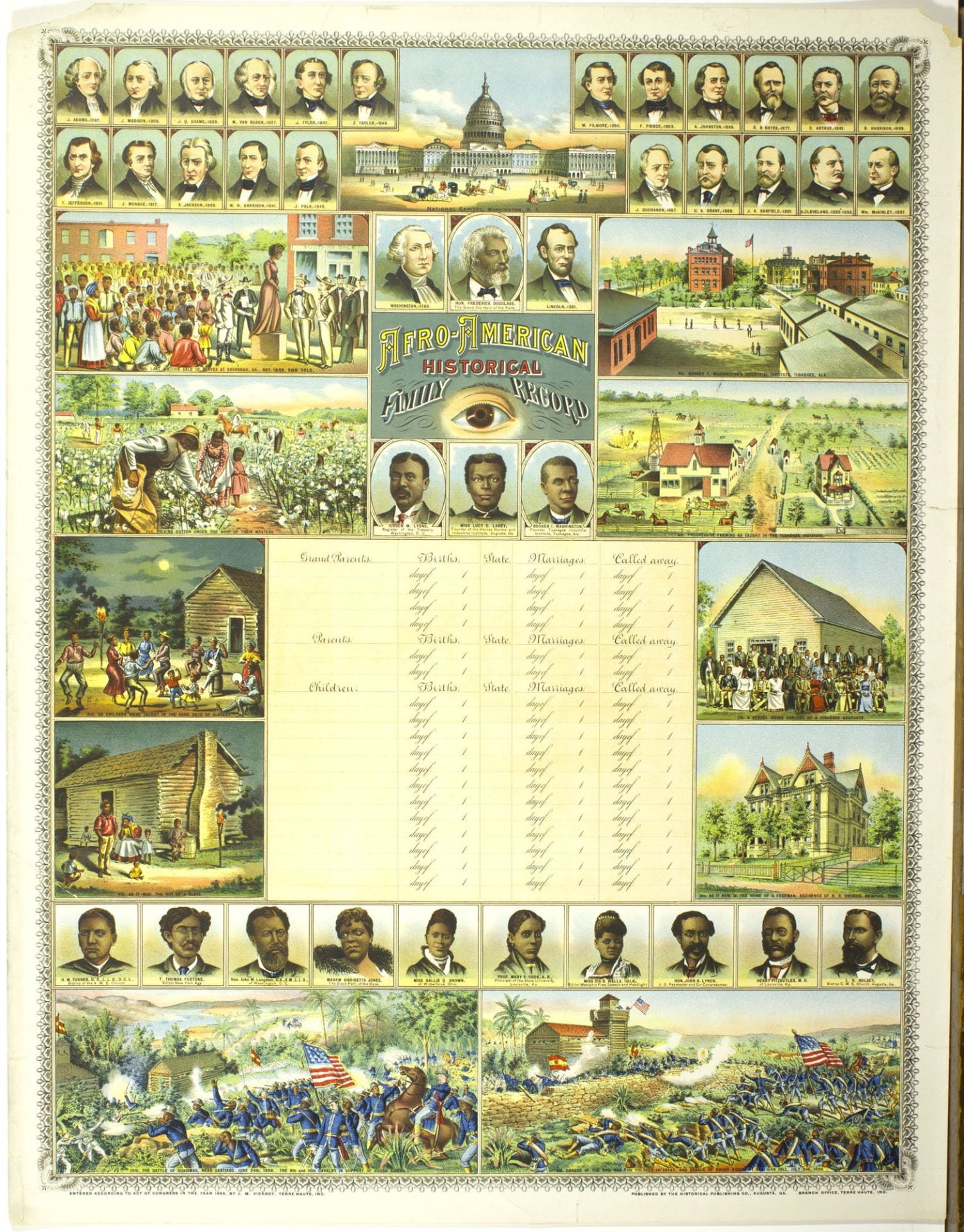 Family record showing historical scenes, a text block, and figure portraits.
