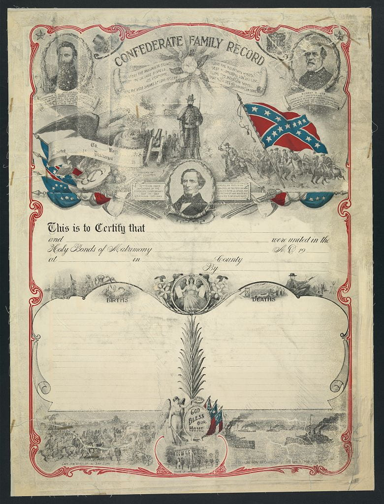 Family record showing portraits of Confederate leaders, the Confederate flag, and battle scenes.